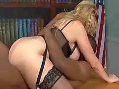 Office babe fucked by a young black man