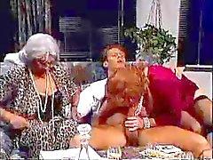 Three Old Grannies Seduce Young Man