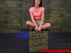Brutal domination scene with ballgagged teen