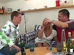 Partying guys pound grandma from both ends