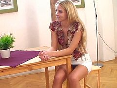 Well shaped cute European teen by her friend