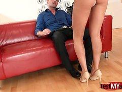 Russian pornstar casting and cum on ass