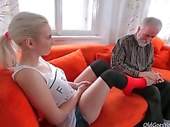 Pure and perfect blonde teen licked by grandpa