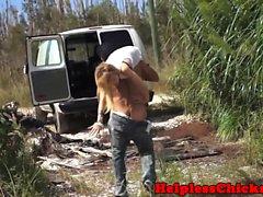 Petite teen hardfucked by crazed van driver