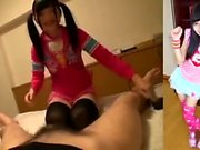 Lovely Japanese teen gives a hot blowjob in POV