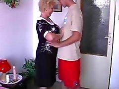 Smily granny with flabby body & guy