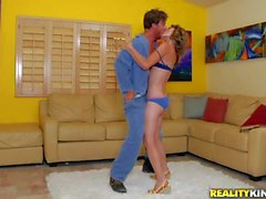 Cindy Snow gets her hairy pussy banged by car mechanic
