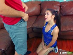 College Sally Squirt rides a gaint dick
