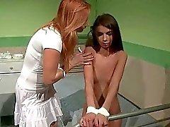 Nurse punishing cute teen girl
