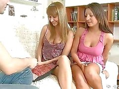 Horny Card Playing Teenies Ready For Threesome