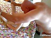 Skinny small tits teen fucks older man