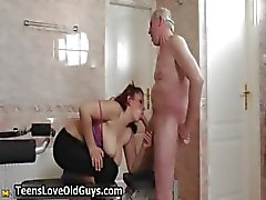Horny grandpa loves having sex with cute