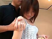 Seduced asian teen shows peachy twat in close-up