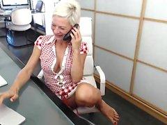 British amateur teen horny blonde in heels sucks on cock
