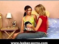 Teeny lesbians in their first porn scene