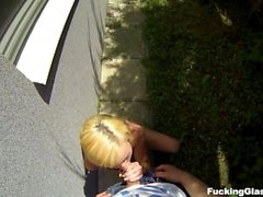 Fucking Glasses - Casual cock riding outdoors