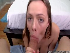 Teen cutie Monica Rise gives cum dripping blow job