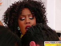 Thoughtful Step Mom Ana Foxxx And Misty Stone Ebony In Threesome