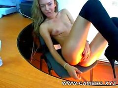 Pretty Oiled Blonde Teen Masturbates on Webcam