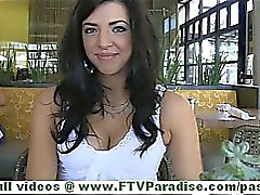 Madeline sexy brunette woman public flashing tits and talking about herself