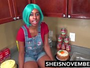 Step Brother Talks Young Ebony Step Sister Into Kitchen Sex