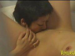 Japanese lesbian licking
