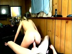 Luscious blonde teen with big hooters passionately rides a