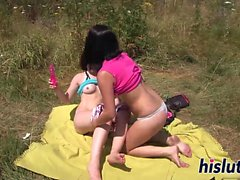 Terry and Jenny enjoy outdoors lesbian sex