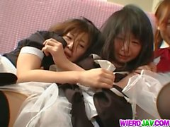Obedient Japanese maids suck and gets fucked hard