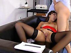 Ebony brit jerking oldman while in stockings