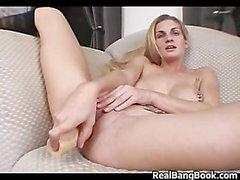 Busty blond and pierced slut doing part2