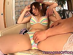 Pigtailed stockinged Jap trio babe tits creamed