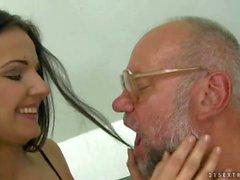 Teen enjoys sex with grandpa