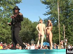 Naughty babes get naked on the stage