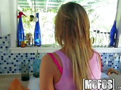 Mofos - Katerina Kay gives a kitchen blowjob
