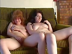 Young hairy redhead and her chubby girlfriend masturbating