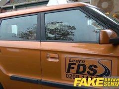 Fake Driving School readhead teen and busty MILF creampie