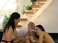 British milf cocksucking in stockinged trio