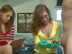 Teen girls playing with toy dick
