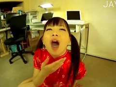 Japanese cutie mouth is full of cum