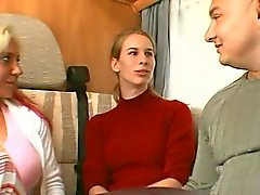 German girl seduced by a couple in a camper