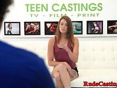 Pussy fingered teen banged at brutal casting