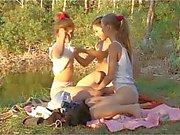 Three Beautiful Russian Teen Girls Outdoor Fun