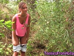 Jizz mouthed teen watched