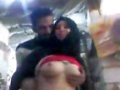 sharmota hijab egypt pressing on pink tit nipple