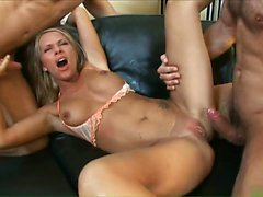 Sexy blonde Vivien can handle two young studs like a pro