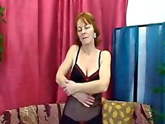 Shy granny stripped her black lingerie for young cock