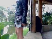 Latina teen Burbujita showing her twat outdoor for webcam