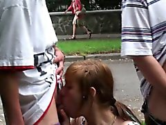 PUBLIC street gangbang with a teen girl Part 3