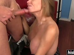 Sexy MILF seduces a young stud